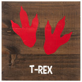 T-Rex Tracks Wood Wall Decor